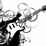 Black-and-white-guitar-pattern-background-vector-graphics